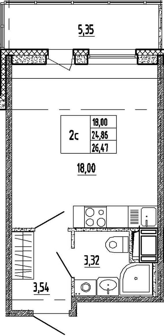 Студия, 30.21 м²