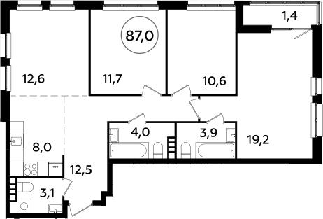 4Е-комнатная, 87 м²– 2