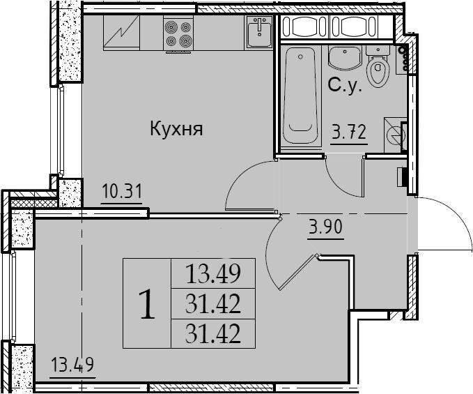 1-к.кв, 31.42 м², 2 этаж