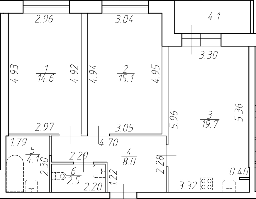 3Е-к.кв, 64 м²