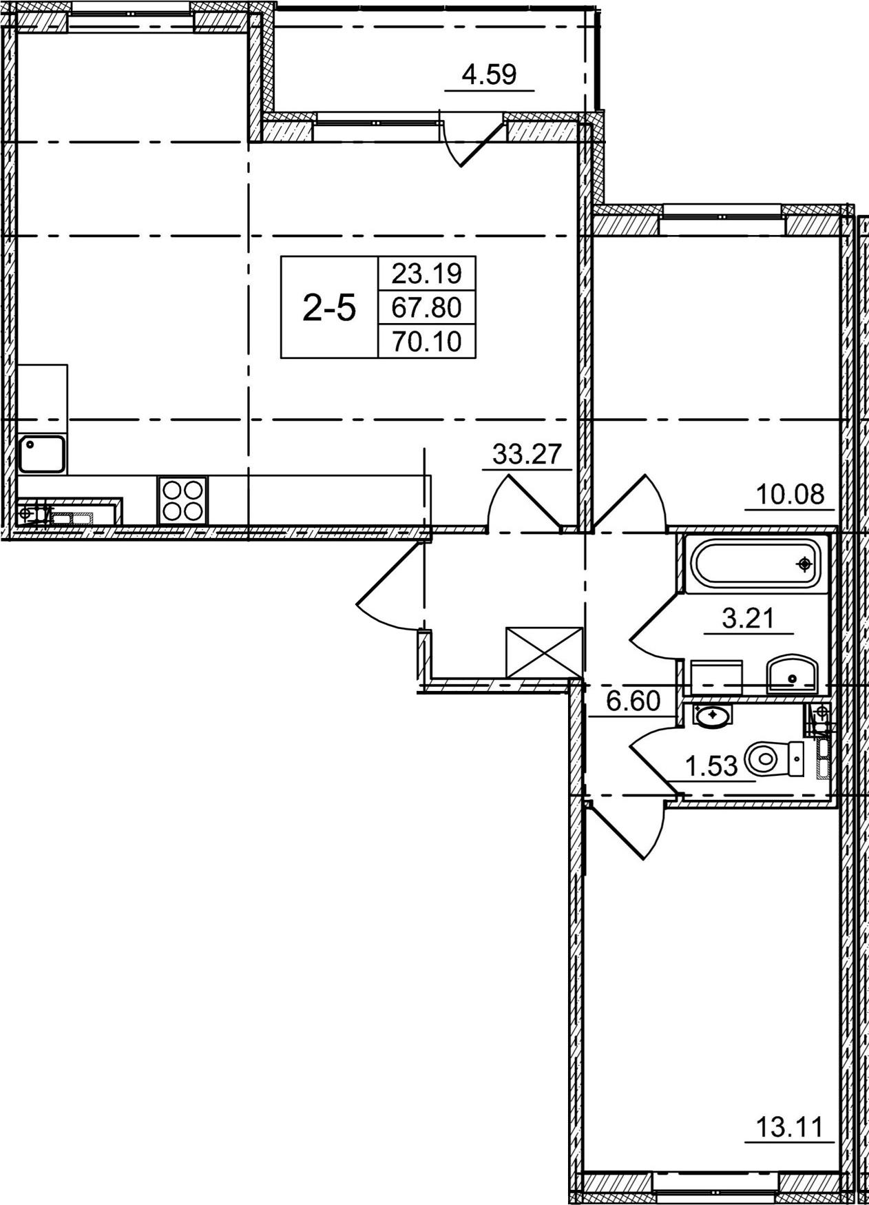 3Е-комнатная, 67.8 м²– 2