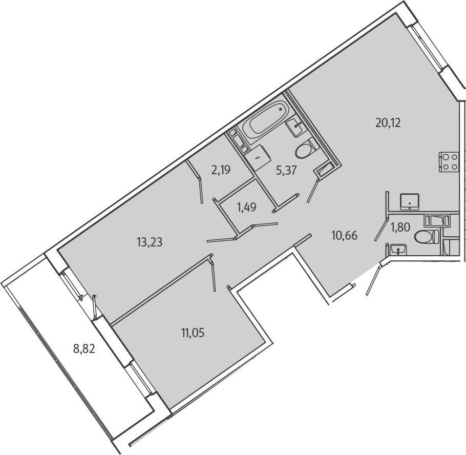 3Е-к.кв, 70.32 м², от 3 этажа