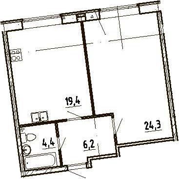 2Е-комнатная, 54.3 м²– 2