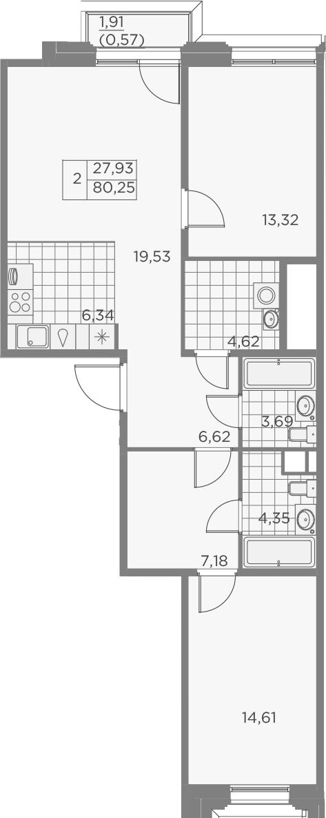 3Е-к.кв, 80.83 м²