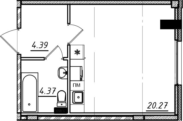 Студия, 29 м²– 2