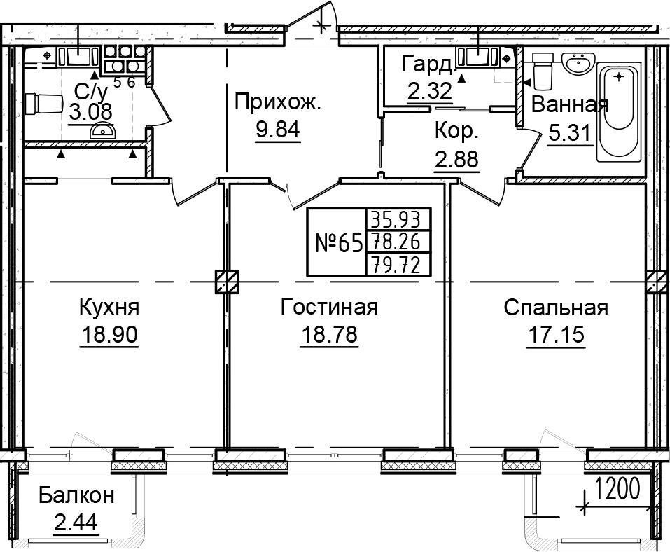 3-к.кв (евро), 83.12 м²