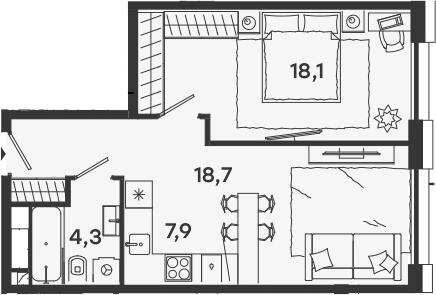 2-к.кв (евро), 49 м²