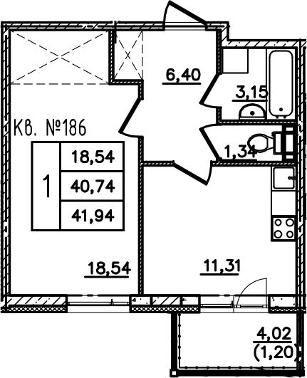 1-комнатная, 41.95 м²– 2