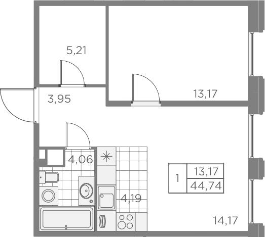 2Е-к.кв, 44.74 м², 2 этаж