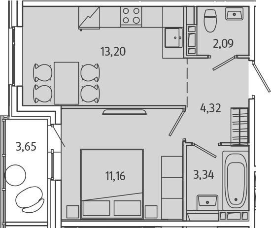 1-комнатная, 35.94 м²– 2