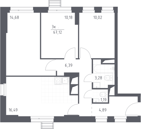 4Е-к.кв, 67.12 м²