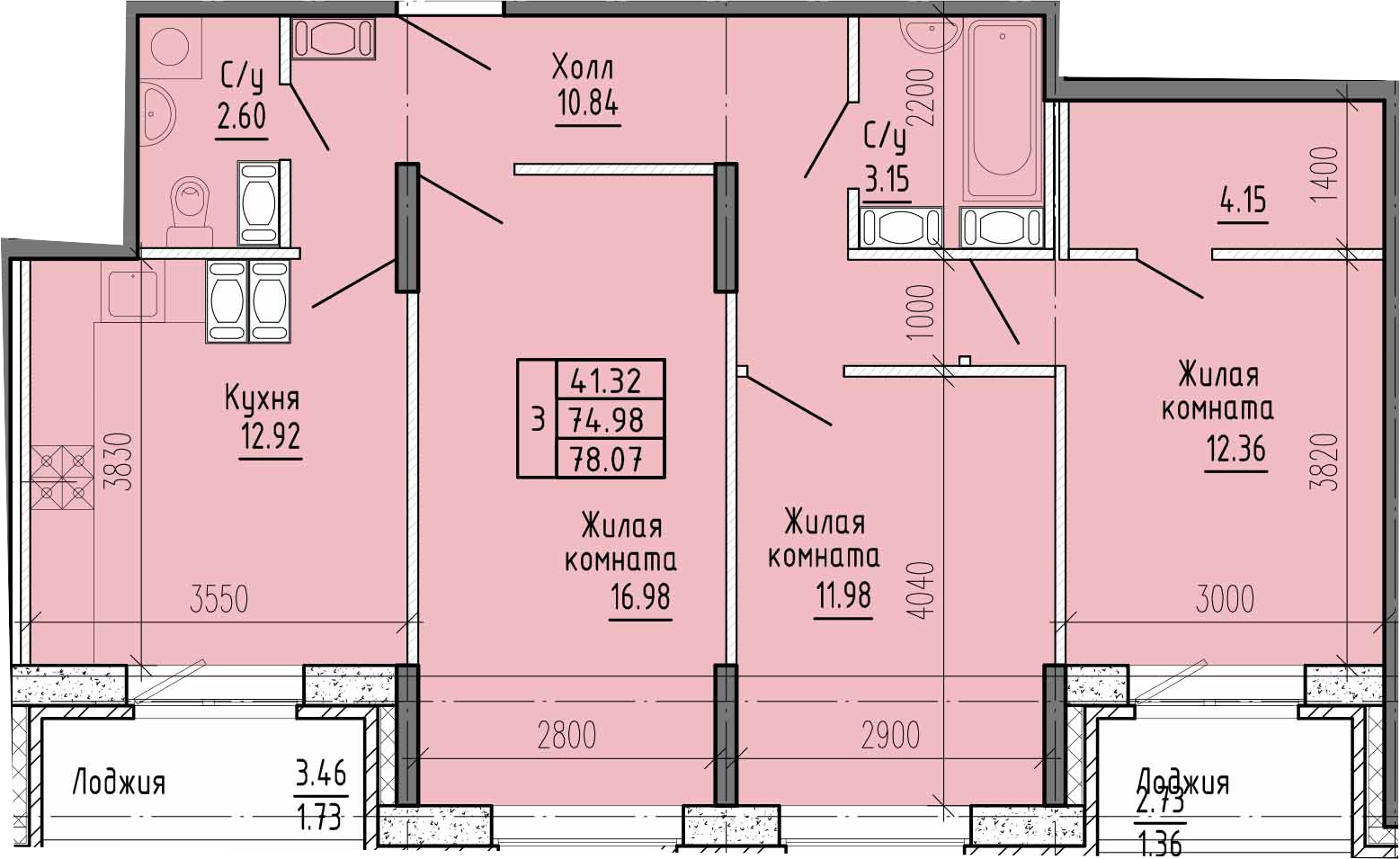 3-к.кв, 81.17 м²