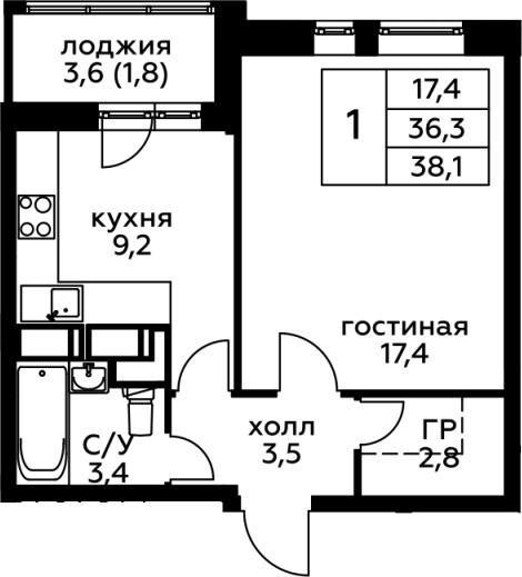 1-комнатная, 38.1 м²– 2