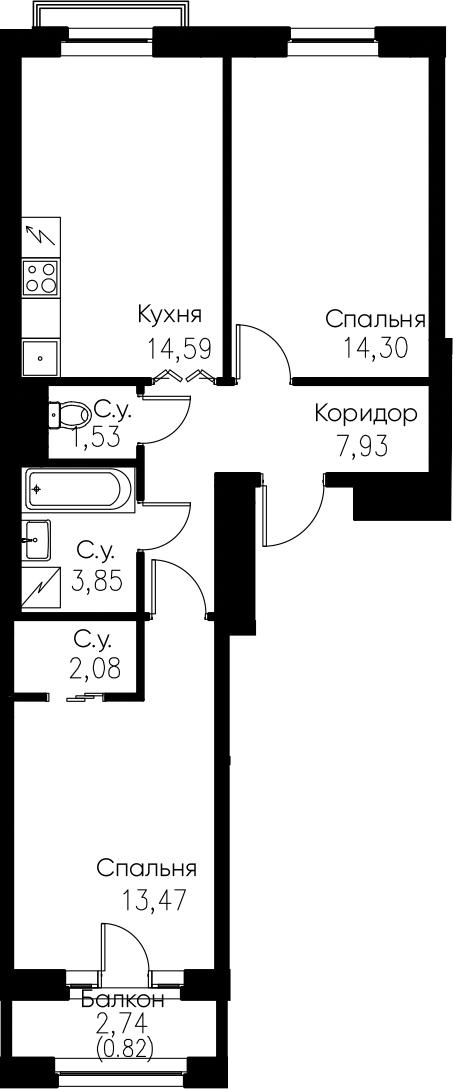 2-комнатная, 58.57 м²– 2