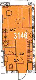 Студия, 19.4 м²