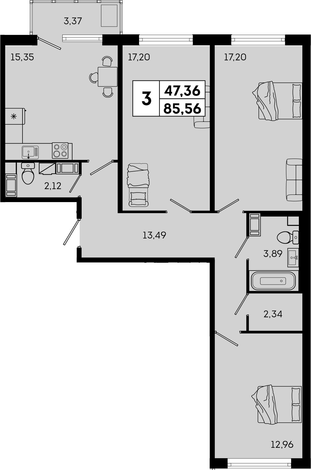 4Е-комнатная, 85.56 м²– 2