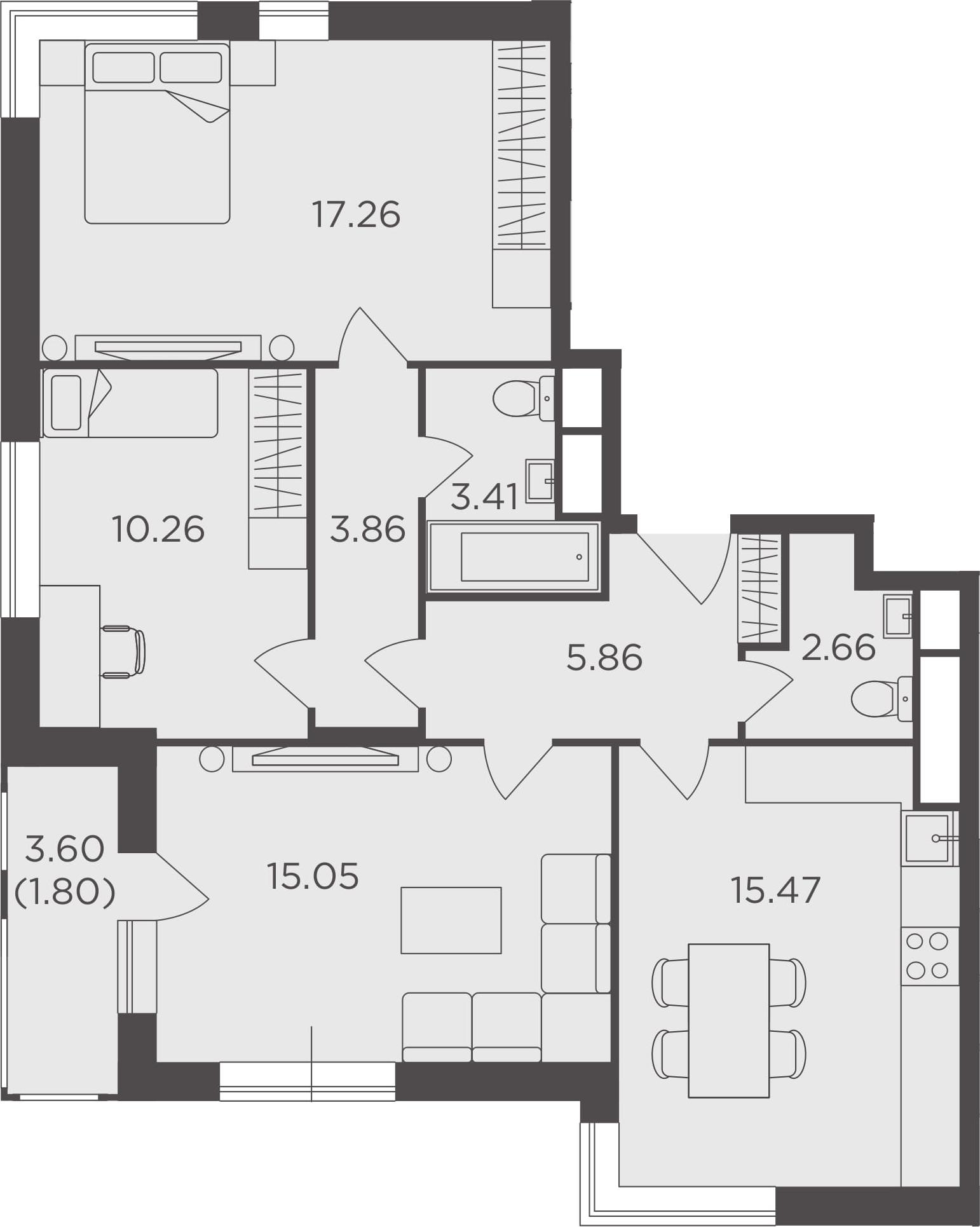 3-к.кв, 75.63 м²