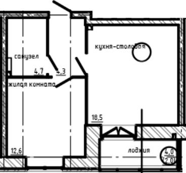 1-к.кв, 44.1 м²