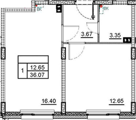 2Е-комнатная, 36.07 м²– 2
