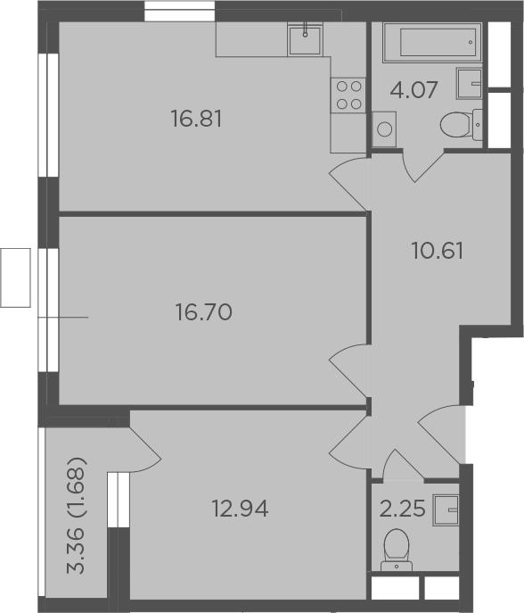 2-комнатная, 65.06 м²– 2