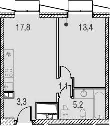 2Е-комнатная, 40.8 м²– 2