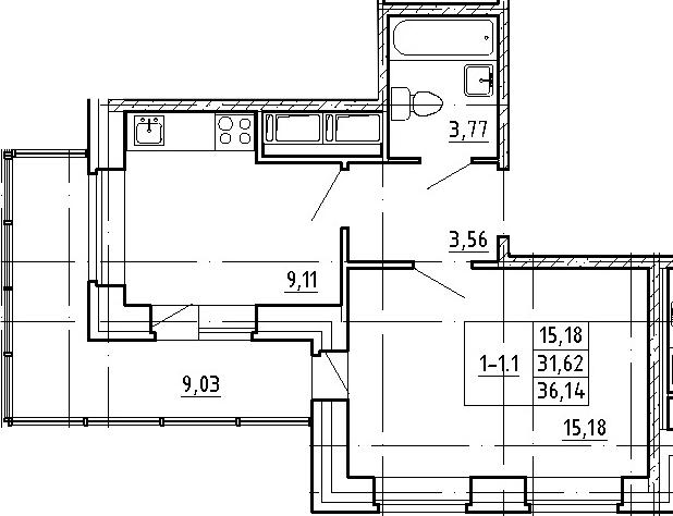 1-к.кв, 40.65 м²