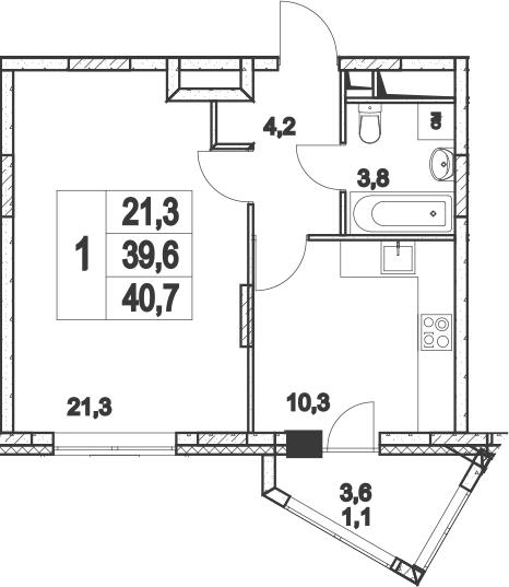 1-к.кв, 43.27 м²