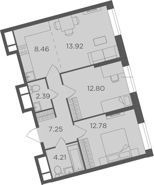 3Е-к.кв, 61.81 м², 4 этаж