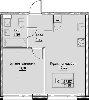 2Е-к.кв, 37.82 м², от 9 этажа