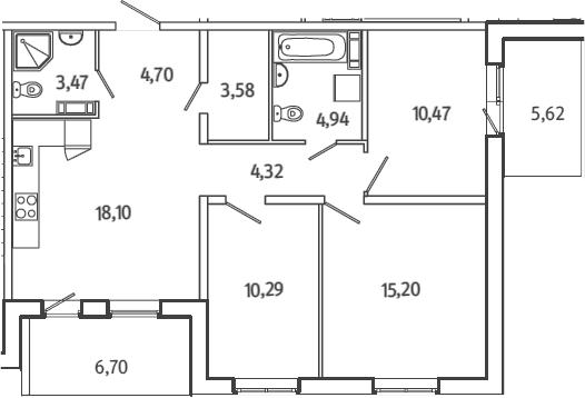 4Е-к.кв, 81.23 м²