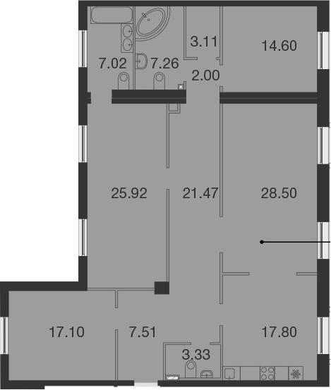4Е-комнатная, 155.62 м²– 2