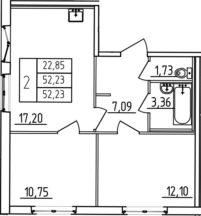 3-к.кв (евро), 52.23 м²
