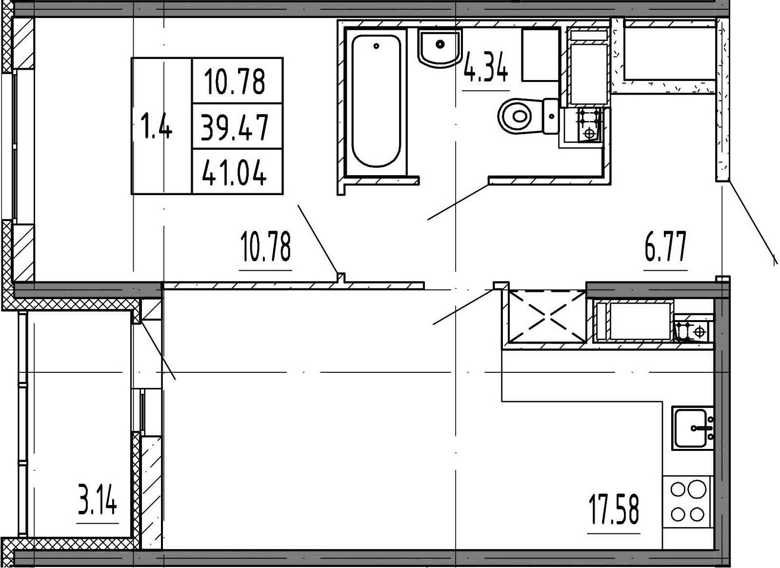 2Е-к.кв, 39.47 м², 4 этаж