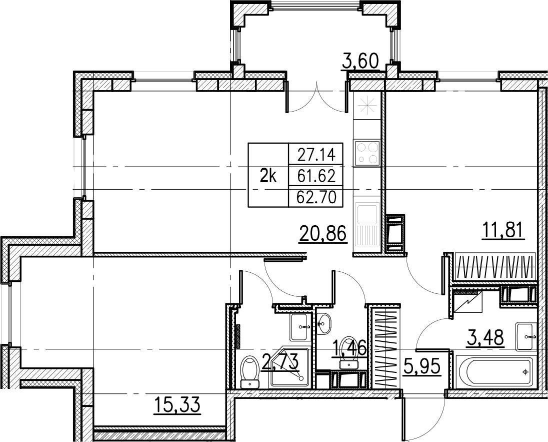 3Е-комнатная, 62.7 м²– 2
