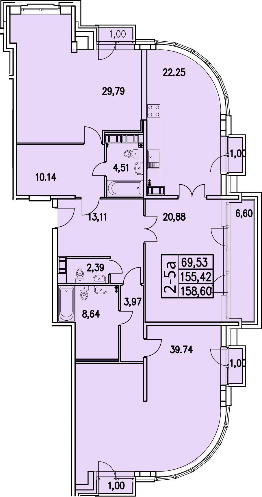 2-к.кв, 159 м², 5 этаж