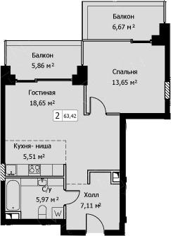 2-к.кв (евро), 63.42 м²