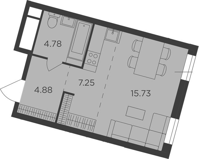 Студия, 32.64 м², от 5 этажа