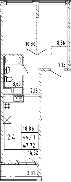 3Е-к.кв, 46.07 м², от 7 этажа