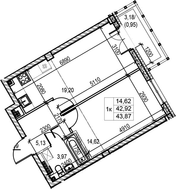 1-к.кв, 43.87 м², 5 этаж