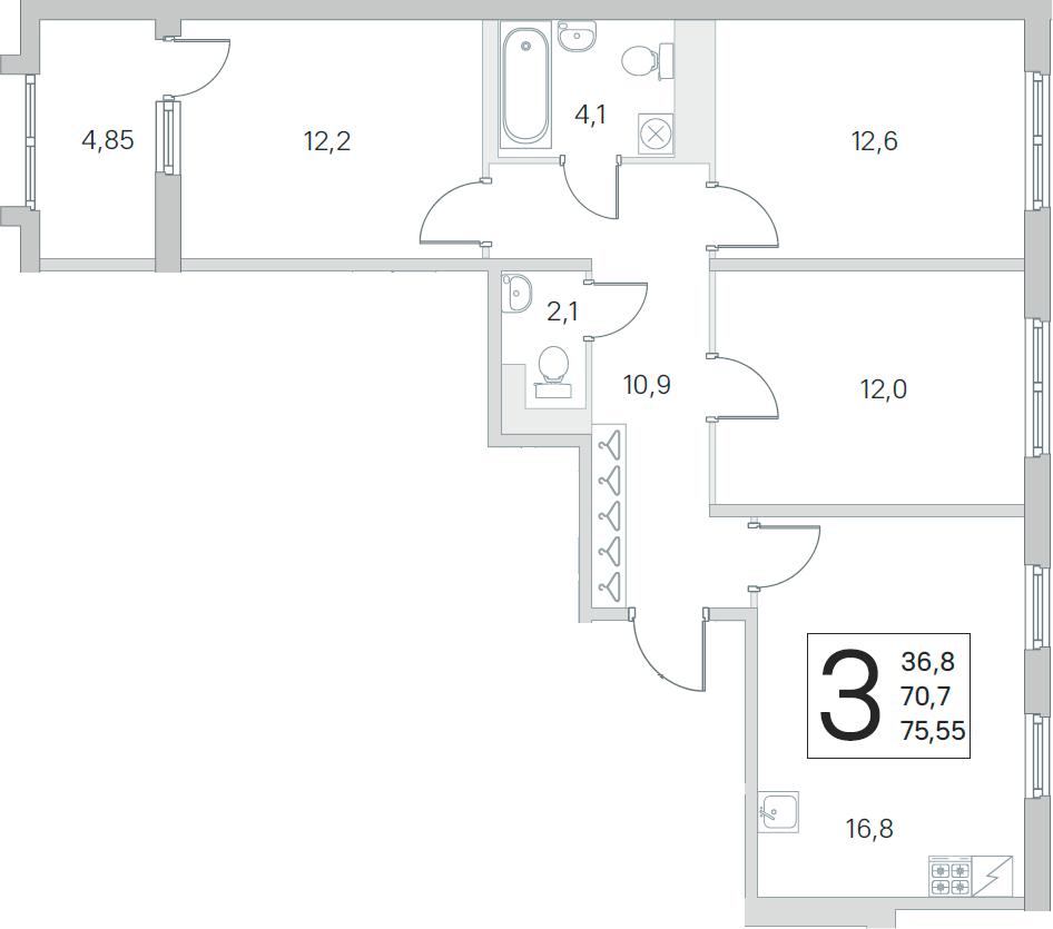 4Е-комнатная, 70.7 м²– 2