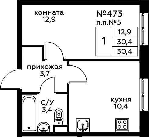 1-к.кв, 30.4 м²