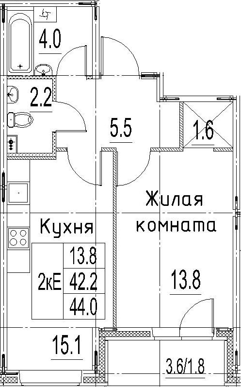 2Е-к.кв, 44 м²