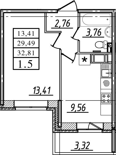 1-комнатная, 29.49 м²– 2