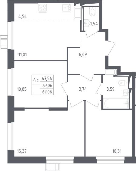 4Е-к.кв, 67.06 м²