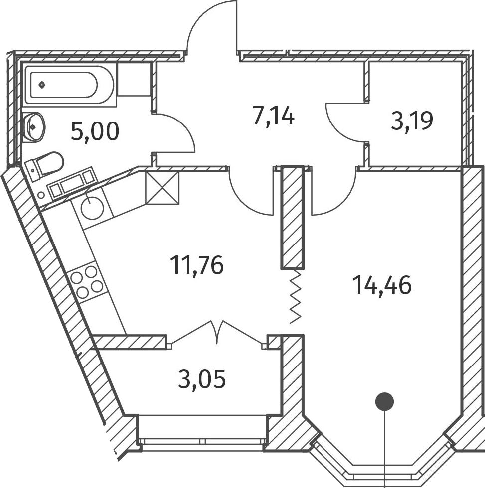 1-к.кв, 43.08 м²