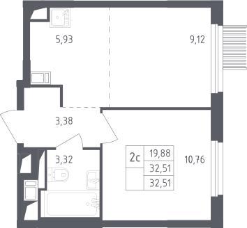 2Е-к.кв, 32.51 м², от 2 этажа