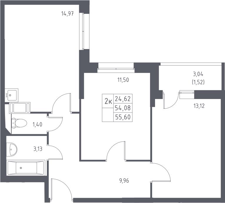 2-комнатная, 55.6 м²– 2