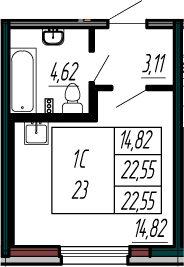 Студия, 22.55 м²