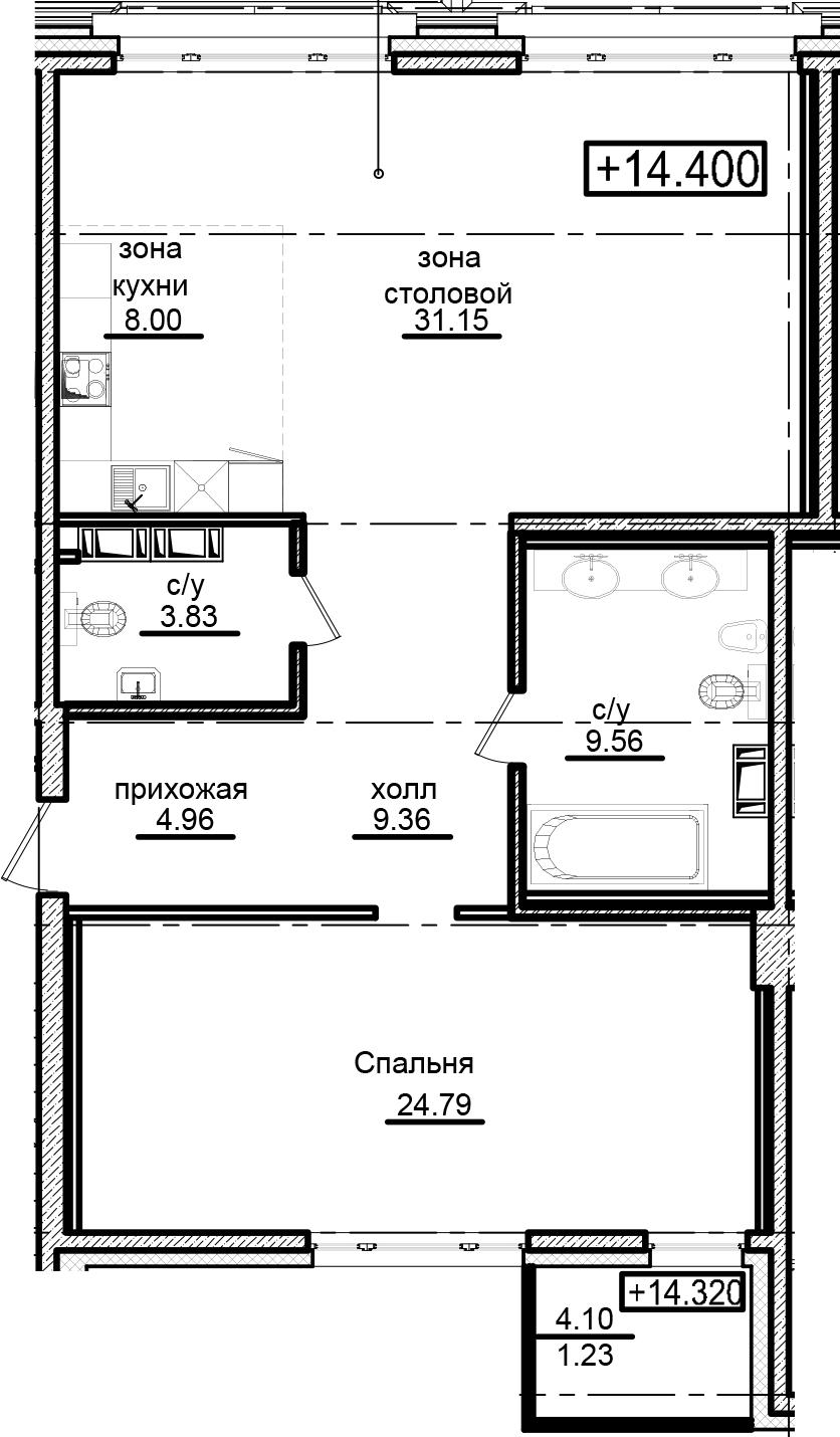 2-к.кв (евро), 95.75 м²