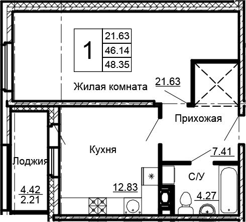 1-к.кв, 48.35 м²
